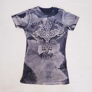 Sinful Blind Love Gray Tee w/ Angel Wings, Sz S